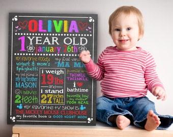 "11 x 14"" Custom Printable Birthday ""favorite things"" Poster on Chalkboard style background."