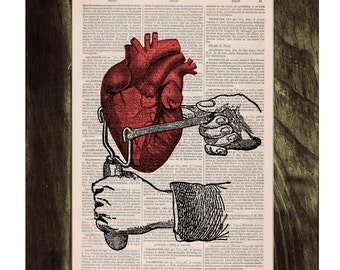 Summer Sale Dictionary Book Print -Occupy your heart-Collage Print on Vintage Book page-Upcycled wall art SKA031
