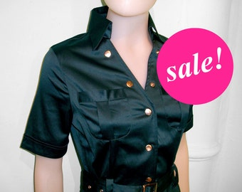 Workwear, Safari dress in black, SALE, 40s dress, mad men, stylist uniform, hair salon , knee length S to xl