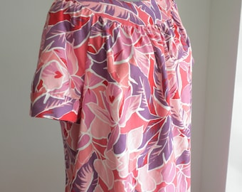 Floral Mumu/ Plus Size 1X Sears Dress / Purple Pink White Sateen Print Patio  Dress