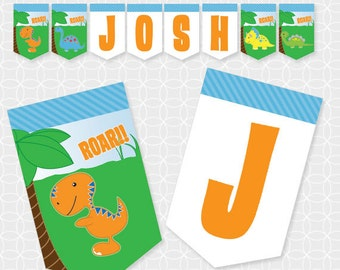 Dinosaur Party Banner, Printable file, Personalized