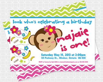 Monkey Party Invitation, Printable file, Personalized, for girls