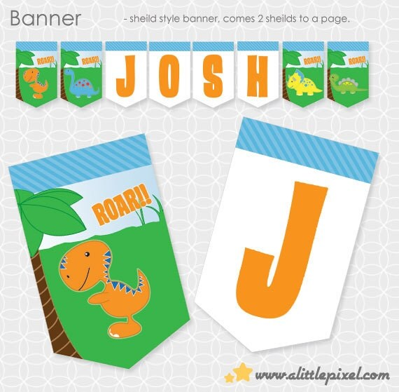 Dinosaur Theme Party Banner - Personalized Printable