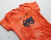 Dump Truck Baby Onesie - Hand Dyed & Painted