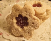Sugar cookies with Strawberry Jam 1 dozen-soft and heavenly- gift for Her, tea parties, birthdays, special occasions
