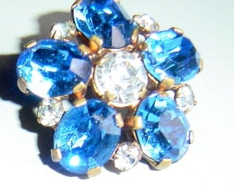 Vintage 1940s 1950s Rhinestone Brooch Blue and White Flower Pin