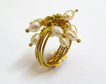 Wedding Jewelry // Fine Jewelry // Freshwater Pearl on 14K Gold Stacking Ring //  Handmade By Amallias