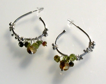 Handmade Jewelry - Sterling Silver Gipsy Dewdrops Earrings with Tourmalines- Ready to Ship