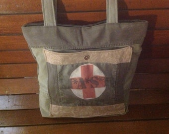 Khaki Bag, Camouflage,  Upcycled Bag, MASH Collectors, Travel, Market, Diaper, Multi Purpose Bag