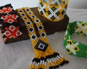 Tribal Beaded Necklace and Bracelet from the Mangyan Tribe of Mindoro - Black, Yellow, Orange, Green, and White beads