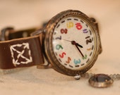 Handstitched Handcraft Wrist Watch with Leather Band /// yumyum - Perfect Gift for Birthday, Anniversary