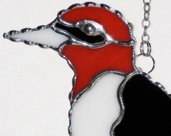 Stained Glass Suncatcher - Red Headed Woodpecker Bird, Original Design, Handmade