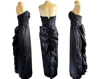 80s Black Strapless Prom Dress with Bow
