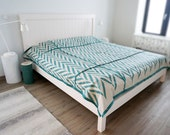 Queen bedspread Linen ZIGZAG coverlet King Double or Twin size bedding More colors available