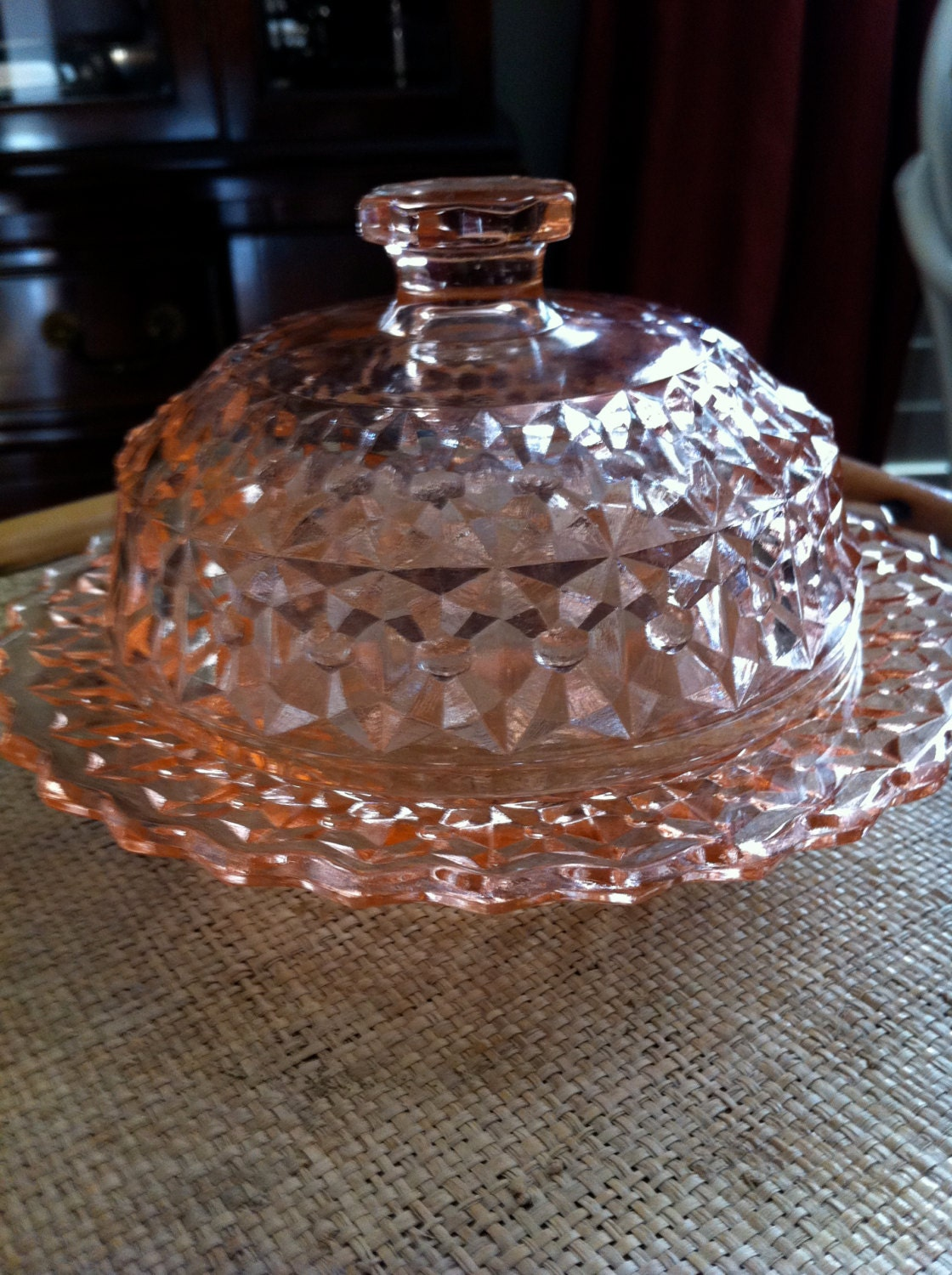 Pink Depression Glass Round Dome covered Pink by JunkyardGenes