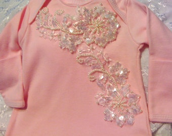 Newborn Girls Pink Beaded Layette gown