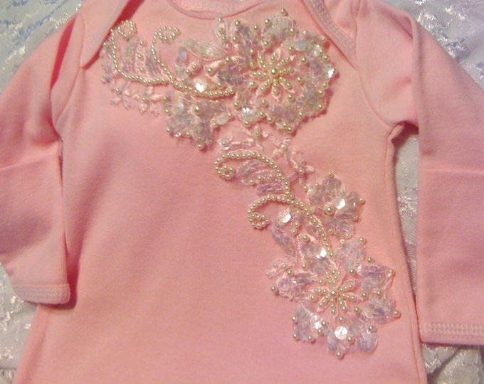 Newborn Girls Pink Beaded Layette gown