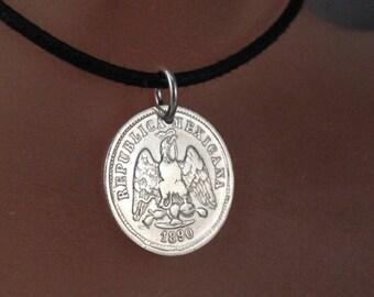 SILVER MEXICAN COIN 1890 necklace. coin jewelry. silver coin. republica mexicana . eagle. aztec. antique No.001347