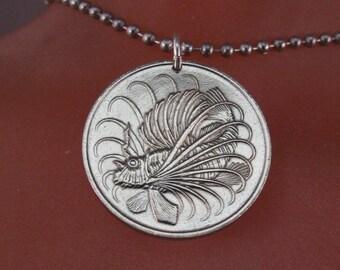 Lion Fish Necklace - fish necklace -  SINGAPORE necklace - Singapore coin pendant -  coin jewelry  /  coin necklace /   No.00964