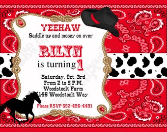 Cowboy Birthday Decorations PRINTABLE INVITATION 3 black red horse boots Western DIY cowboy invitation by Cupcake Express