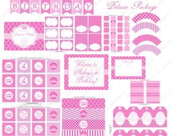 DIY Pink Princess Deluxe Package PRINTABLE birthday party pack Cupcake Express