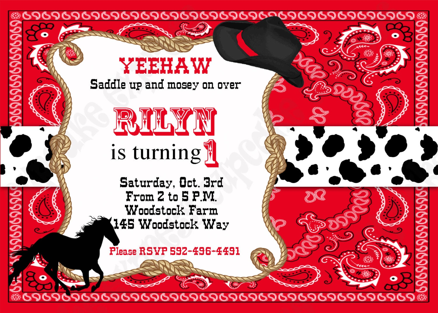 Cowboy Birthday Decorations PRINTABLE INVITATION 3 black red