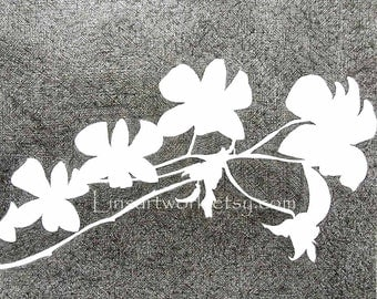 """Original Drawing """"Orchids"""" 14x17 pen and ink OOAK .tropical plants"""