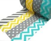 Gray Stripes, Yellow Chevron, Aqua Chevron, Gray Polka Dots Washi Tape Set of 4