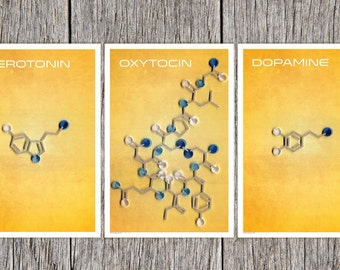The molecules of Happiness Poster Set, Serotonin, Dopamine and Oxytocin, Scientific Stylized Happiness, paper quilling,  Paper art print