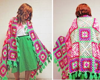 70s Psychedelic Neon Afghan