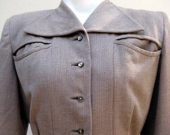 Vintage 40s Bullock's Los Angeles Tan Nipped Waist  Jacket