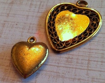Vintage set of 12k gold heart charms - solid and filigree