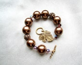 Bronze Colored Glass Beads with Crystal Sparkle Statement Bracelet