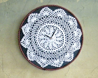 White Lace Clock Country Style Shabby Chic Clock Navy Blue Girl's Room Doily Clock Upcycled Home Decor Cottage Decoration