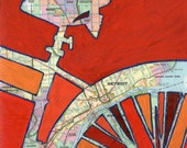 Bike Detroit print - featuring Detroit, lincoln park, royal oak, madison height,  grosse pointe park-print of map painting with bike