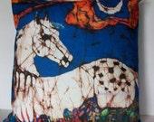 Horse Pillow  - Appaloosa in Flower Field - Batik Pillow -Throw pillow  - Batik decorative design