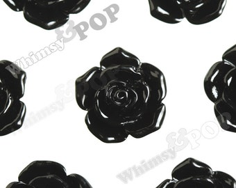 16mm Pointy Rose Black Flower Cabochons, Rose Shaped, Rose Cabochons, Rose Flatback Embellishments (R3-116)
