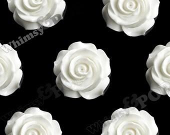 3 - White Jumbo Detailed Rose Cabochons, Deco Resin Cabochons, 35mm Rose Cabochons, 35mm  (R5-056)