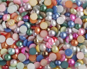7MM - Mixed Color Pearl Flatback Resin Decoden Cabochons,  Half Pearl Cabochons, 7mm Flat Pearls, Flat Back Pearls, Embellishment (R4-076)
