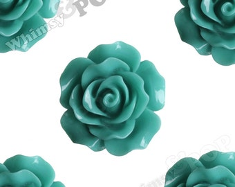 Large Detailed Teal Green Rose Resin Cabochons, Flower Shaped, 20mm Rose Cabochons, Flatback Roses, Flat Back Roses, Flower Cabs (R1-013)