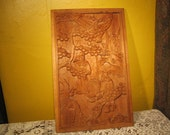Asian wood-cut panel, Man in orchard