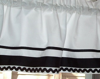 "Valance 40 x 12""  14""  or  16""  Long White with Black RIBBON and Rick Rack Trim LINED in Solid Cotton"