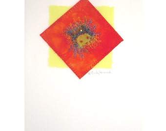 Greeting Card, Mixed Media, Handmade, Orange, Yellow