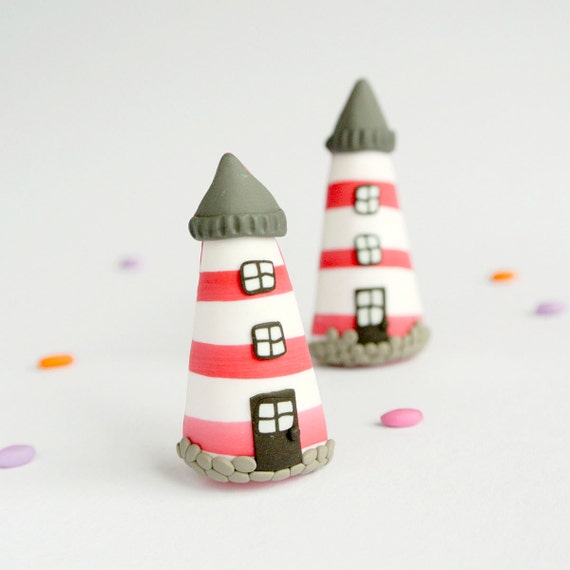 Lighthouse Brooch - Nautical jewelry handmade with love - Christmas gift for sea lovers - Red and white stripes
