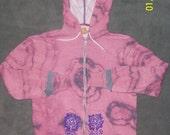 XLarge Pink Purple Tye Dye Zip Front Hoodie with Extended Sleeves & Floral Painted Pocket Designs