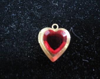 Vintage Swarovski Siam Rhinestone Heart Locket Brass for 2 Pictures 17x14mm QTY - 1 ONLY ONE