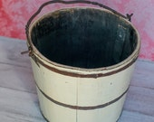 Antique Chinese Wood rice or water bowl bucket. Newborn Photography Prop- Ready to Ship