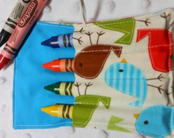 Bermuda Birds, Mini Crayon Roll Up Holder With 4 Pockets With Crayon