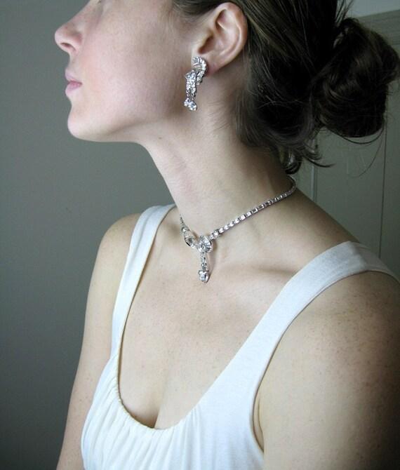 Mazer Art Deco Rhinestone Necklace Earrings Set Choker Clear Baguette Wedding 1940s Jewelry