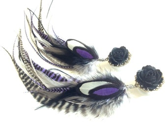 Black Rose Plugs 5/8, 3/4, 11/16, 13/16, 7/8 inch Plugs, Feather Plugs, Purple Dangle Plugs with Feathers 11 Inches Long Feather Gauges